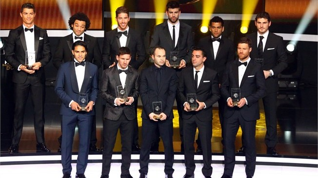 FIFA/FIFPro World XI 2012 - COMPLETE TEAM PLAYS IN SPANISH LEAGUE!