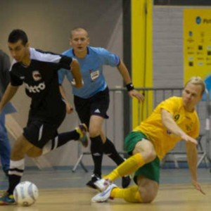 Grimsby referee Gavin Sartain in action.  want to referee futsal? 07980 286663 for details