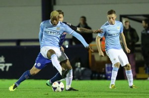 Adam Drury (right) in action for Manchester City's Elite Development Squad