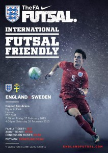 Watch England Futsal team take on Sweden at Copper Box Arena, Olympic Park on Friday 27 & Saturday 28 February