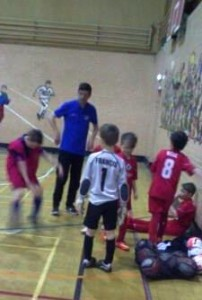 Liam Williamson tutoring his Grimsby Borough junior protegees