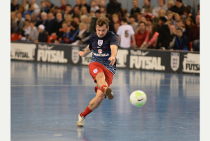 BURTON-UPON-TRENT, ENGLAND - NOVEMBER 08:  Luke Ballinger of England during the warm up before  the Futsal International match between England and Latvia at St Georges Park on November 8, 2014 in Burton-upon-Trent, England.  (Photo by Tony Marshall - The FA/The FA via Getty Images)